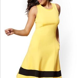 NY & Co fit flare color block dress